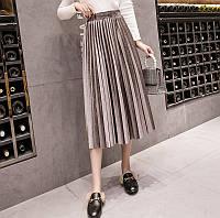 ed8aee891ed Женская длинная плиссированная бархатная юбка коричневая (мокко)