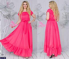 Летнее женское платье в пол. Размер 48-52. Ткань креп-шифон, подкладка трикотаж. Расцветки