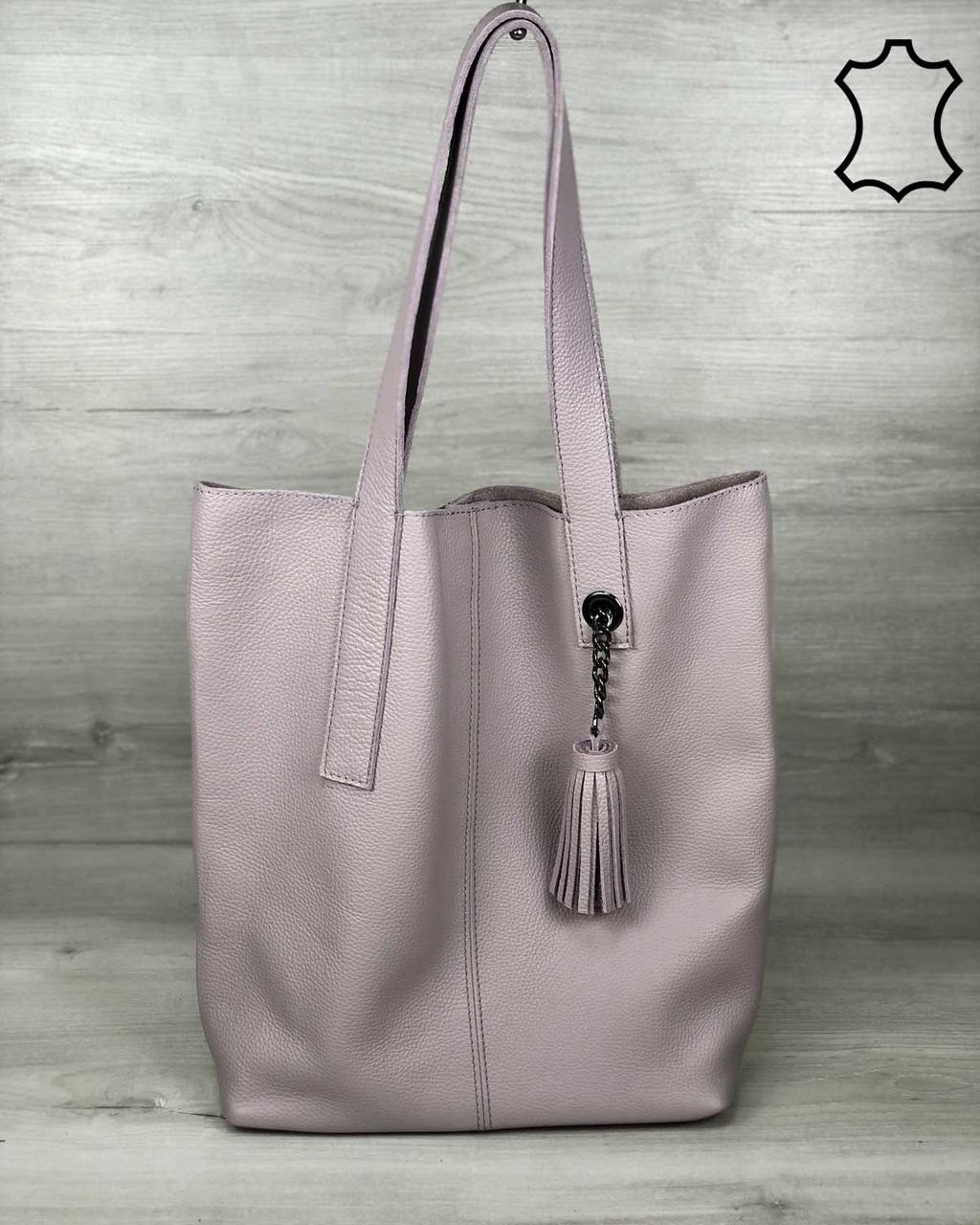 Кожаная женская сумка-шоппер WeLassie Jolie фиалкового цвета (K2019)