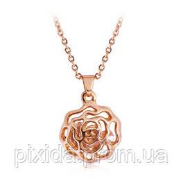 Подвеска роза фианиты покрытие 18К золото