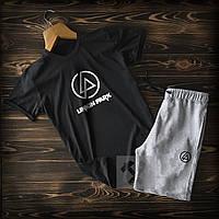 Летний спортивный костюм шорты, футболка Linkin Park , черные с серым