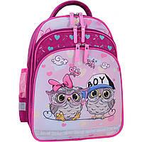Рюкзак школьный ортопедический Bagland Mouse для девочки совята малиновый розовый