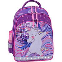 Рюкзак школьный ортопедический Bagland Mouse для девочки единорожек фиолетовый розовый