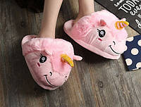 Женские розовые тапочки игрушки Единороги