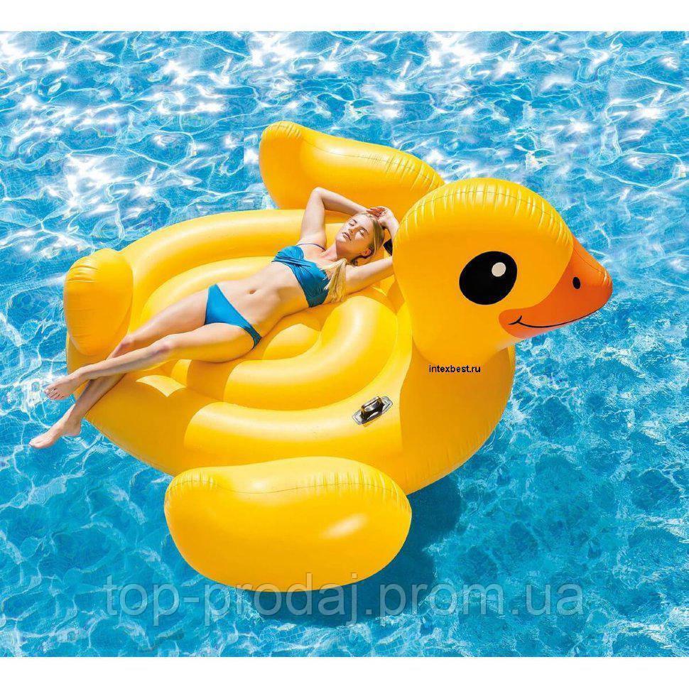"""56286 Плотик Утка"""" 221*221*109см, Плот взрослый для плавания, Надувная игрушка, Надувная утка для воды"""