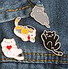 Брошка брошка значок білий кіт кішка кошеня метал пін емаль, фото 2