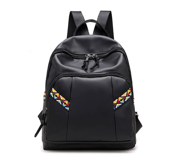 Черный нейлоновый рюкзак с орнаментом