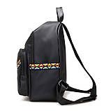 Черный нейлоновый рюкзак с орнаментом, фото 3