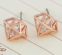 Сережки кристалл фианит покрытие 18К золото