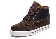 Кроссовки мужские Nike High Top Fur, зимние кроссовки найк топ фюр высокие коричневые, зимние найки