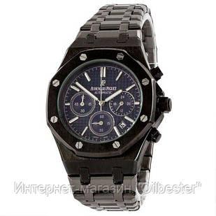 Черные мужские часы с синим циферблатом