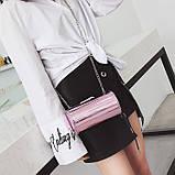 Розовая лаковая сумка кроссбоди, фото 3