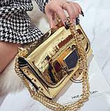 Золотая лаковая сумка через плечо, фото 2
