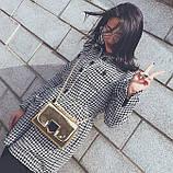 Золотая лаковая сумка через плечо, фото 3