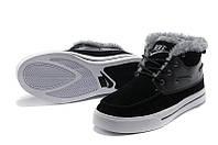 Кроссовки мужские Nike High Top Fur, зимние кроссовки найк топ фюр высокие черные, зимние найки оригинал