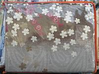 Двуспальное постельное белье бязь Голд - на коричневом беленькие цветочки