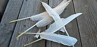 Перо голубя - натуральный декор, выс. 10-12 см, 5 шт. в упаковке