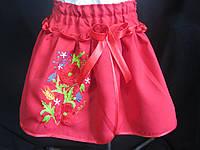 Юбка красная с вышивкой для девочки, от 2 до 14 лет, 140/115 (цена за 1 шт. + 25 гр.)