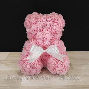 Мишка из роз розовый высота 27см