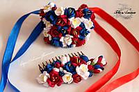 Комплект украшений с цветами: гребень+браслет.