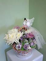 """Свадебная корзинка из конфет """"Любовь и голуби"""""""