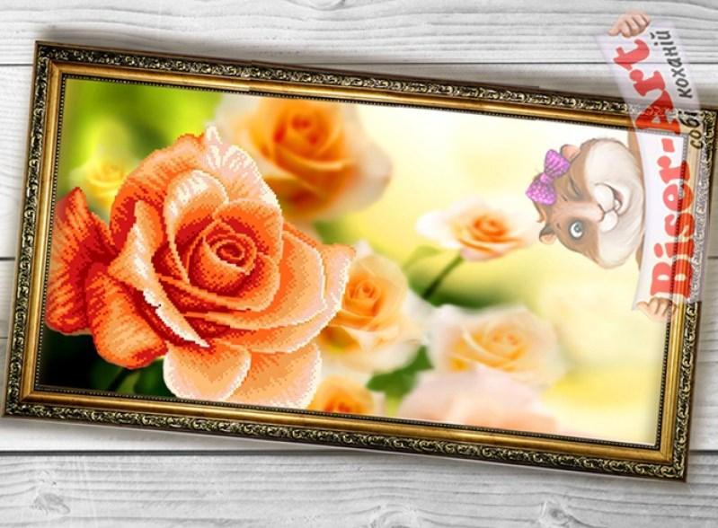 Схема вышивки бисером на габардине Панно Троянда