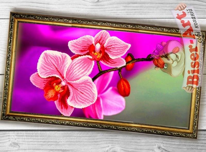 Схема вышивки бисером на габардине Панно Рожева орхідея