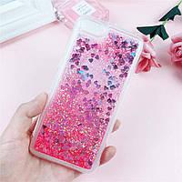 Чехол Glitter для Iphone 7 / 8 Бампер Жидкий блеск Сердце Розовый