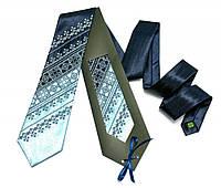 Атласный галстук с вышивкой «Сине-голубой дуэт», фото 1
