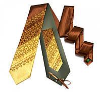 """Атласный галстук с вышивкой """"Коричнево-бежевый дуэт"""", фото 1"""