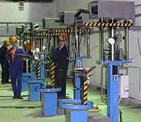 Стенд для вертикальной механизированной заплетки стропов для каната максимальным диаметром 60 мм