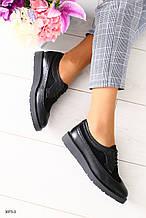 Женские черные туфли на шнурках