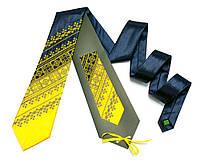 Атласный галстук с вышивкой «Желто-синий дуэт», фото 1