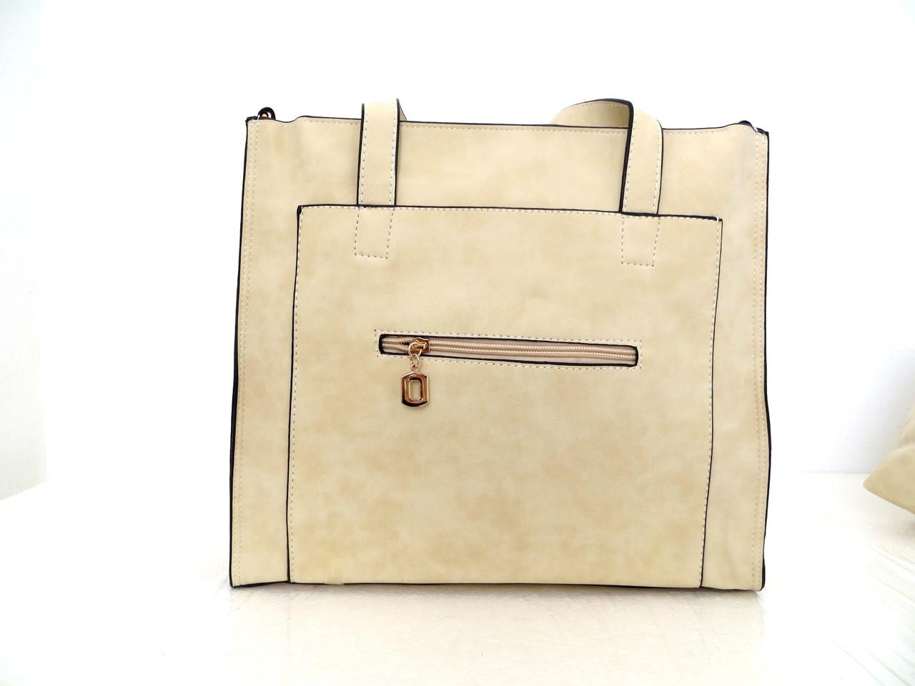 Вместительная женская сумка - двойка. Эко-кожа Бежевый