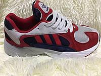 Кроссовки Adidas красные из черными и серыми вставками