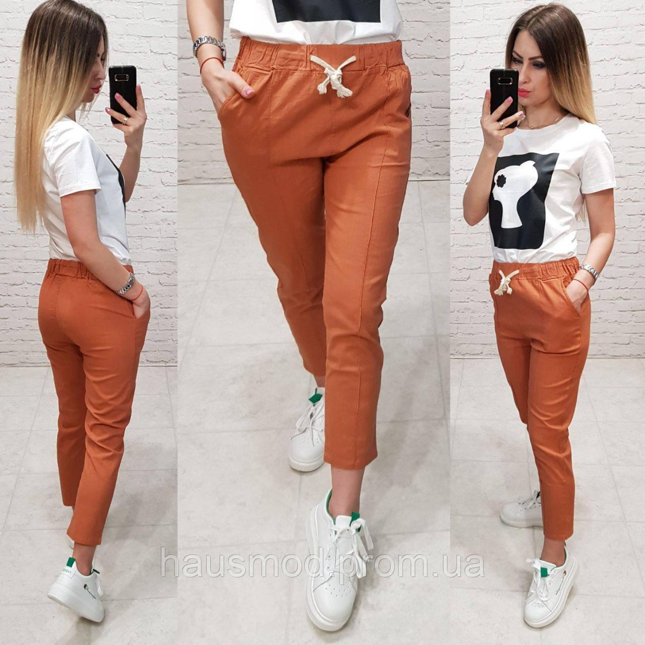 Женские брюки укороченные ткань лен посадка средняя цвет оранжевый