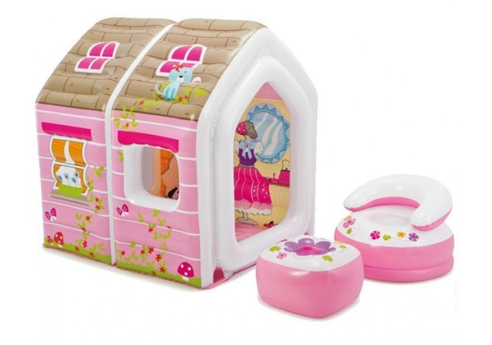 Детский игровой центр - надувной раскладной дом принцессы Intex 48635