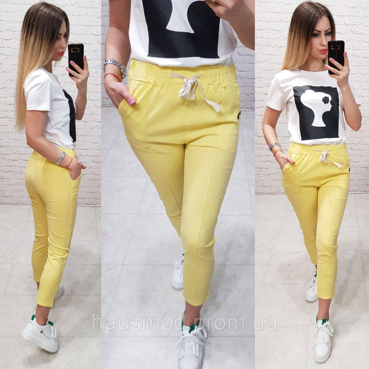 Женские брюки укороченные ткань лен посадка средняя цвет желтый