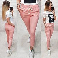 Женские брюки укороченные ткань лен посадка средняя цвет розовый, фото 1