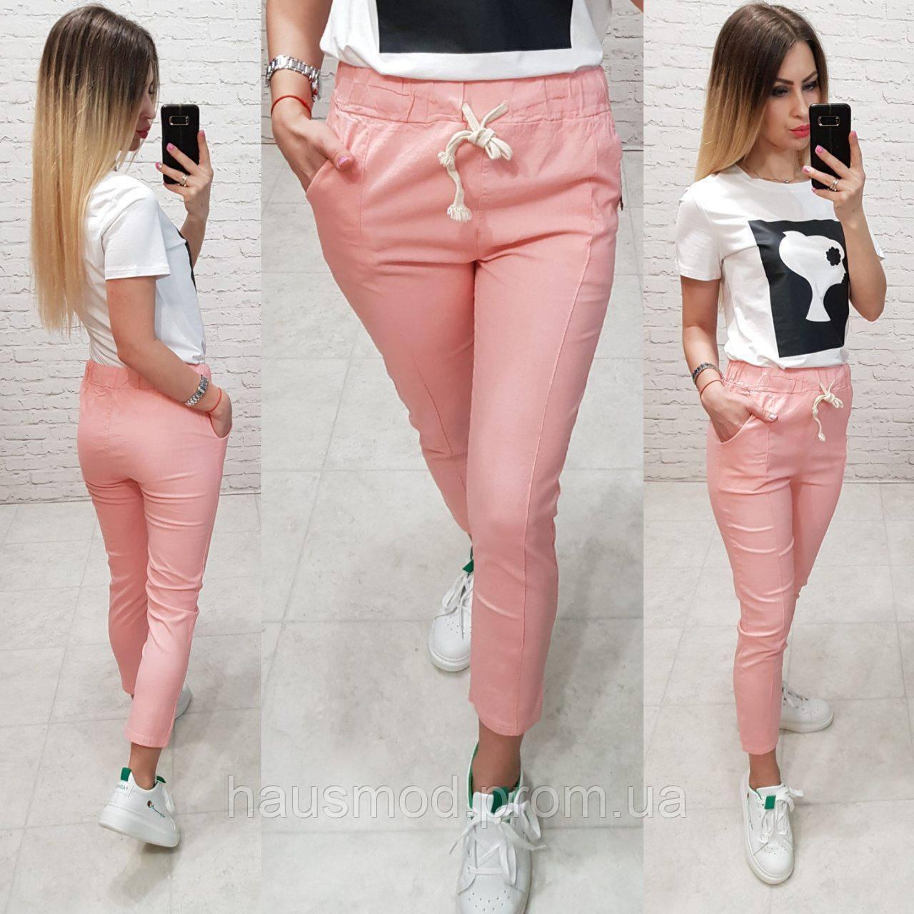 Женские брюки укороченные ткань лен посадка средняя цвет розовый