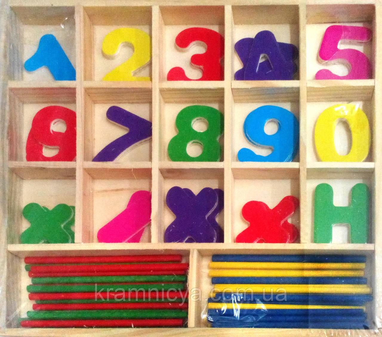 Набор счётных палочек с цифрами и арифметическими знаками