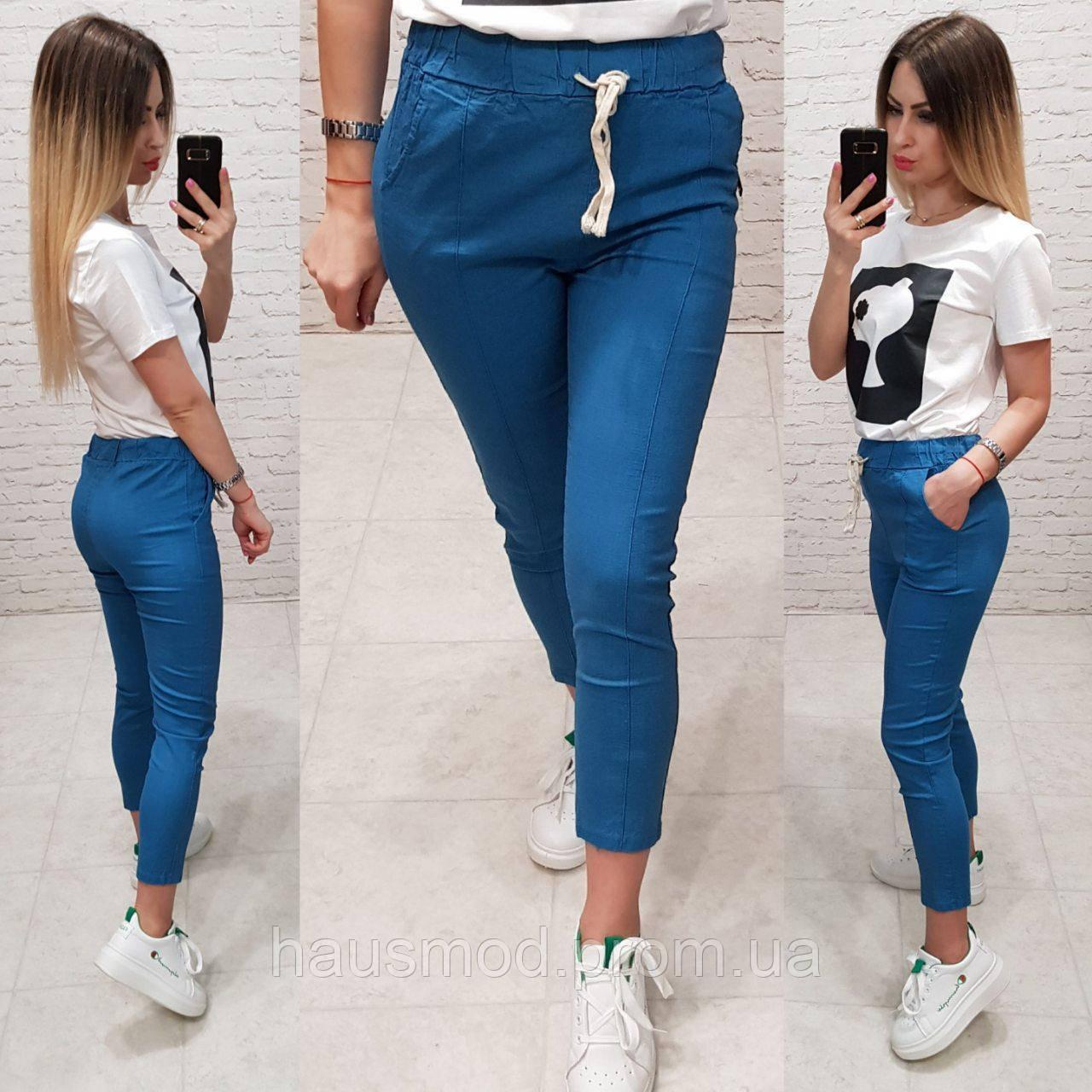 Женские брюки укороченные ткань лен посадка средняя цвет синий