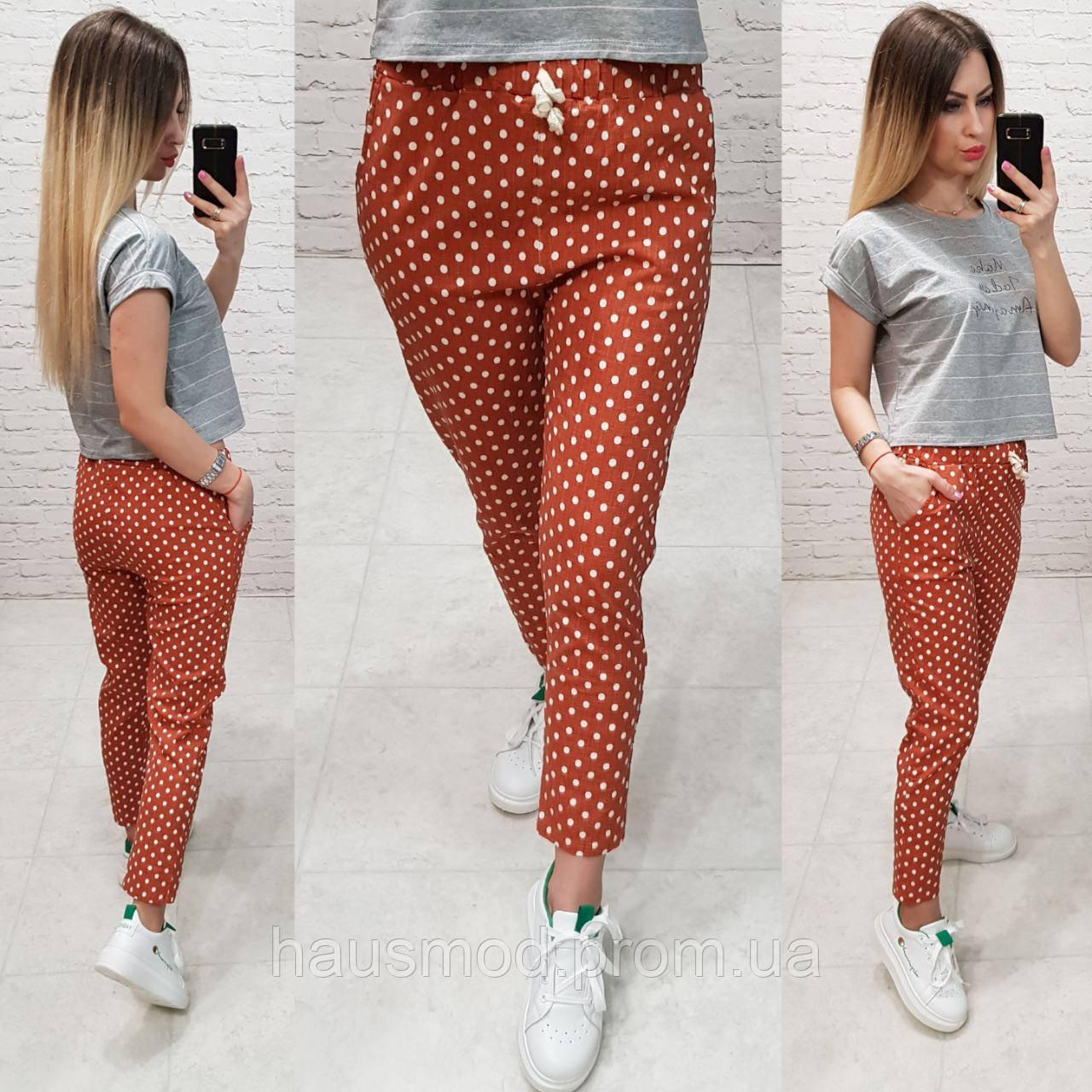 Женские брюки укороченные горох ткань лен посадка талия завышенная цвет оранжевый