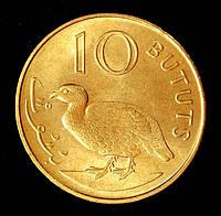 Монета Гамбии 10 бутутов 1971 г. Двушпоровый турач