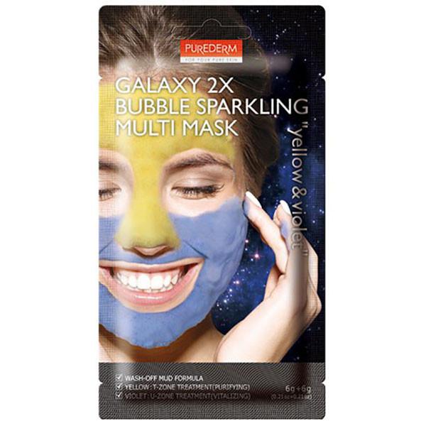 Кислородная маска для лица PUREDERM Galaxy 2X Bubble Sparkling Multi Mask Yellow & Violet