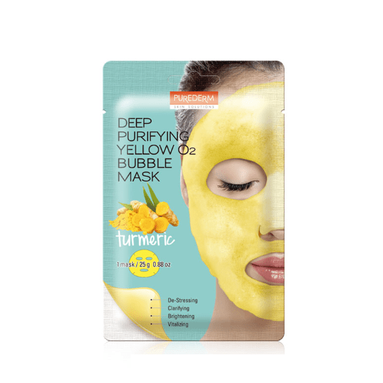 Кислородная тканевая маска Purederm Deep Purifying Yellow O2 Bubble Mask Turmeric