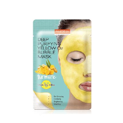 Кислородная тканевая маска Purederm Deep Purifying Yellow O2 Bubble Mask Turmeric, фото 2
