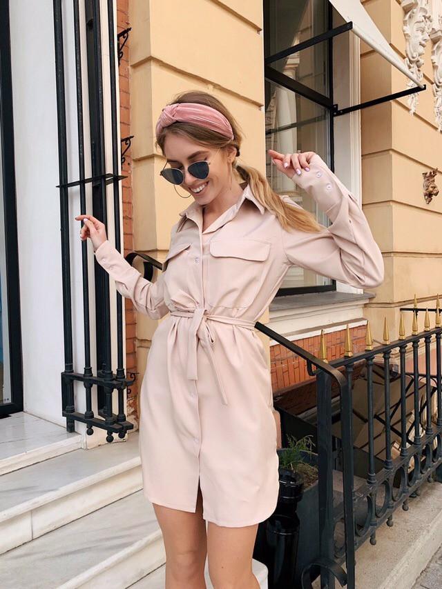 Модное женское летнее платье рубашка Бежевый