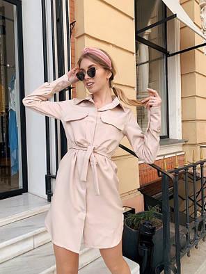 Модное женское летнее платье рубашка Бежевый, фото 2