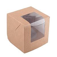 Коробка из крафт картона на один капкейк с окошком и вставкой 8,5*8,5*9